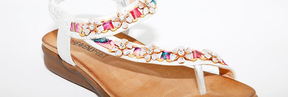 Heavenly Feet Gisela White/Silver