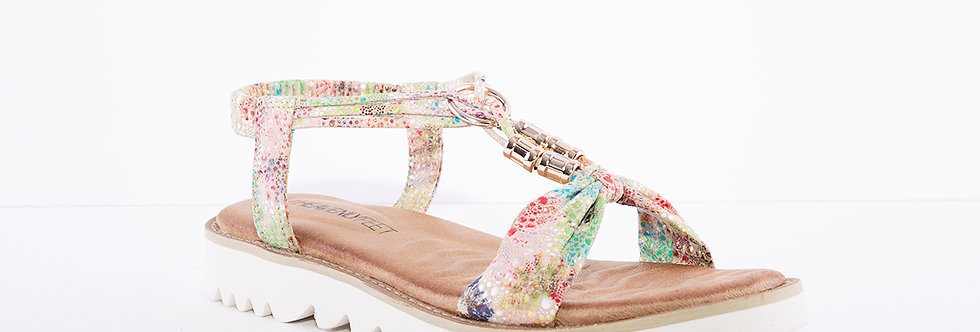 Heavenly Feet Lilly Taupe Multi