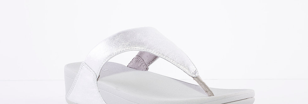 FitFlop Lulu Leather Silver Toe Post