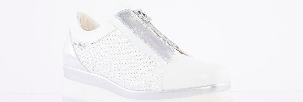 Marco Moreo - White/Silver Luna Front Zip Platform Shoe