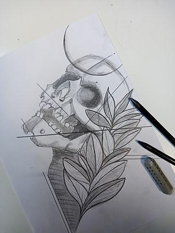 Totenkopf Bleistiftzeichnung