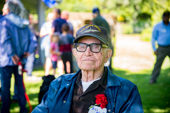 A World War II veteran at a Memorial Day event at Allyn Waterfront Park in Allyn, WA.