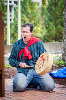 """Unveiling ceremony for """"Welcome Woman"""" carving at The Evergreen State College."""