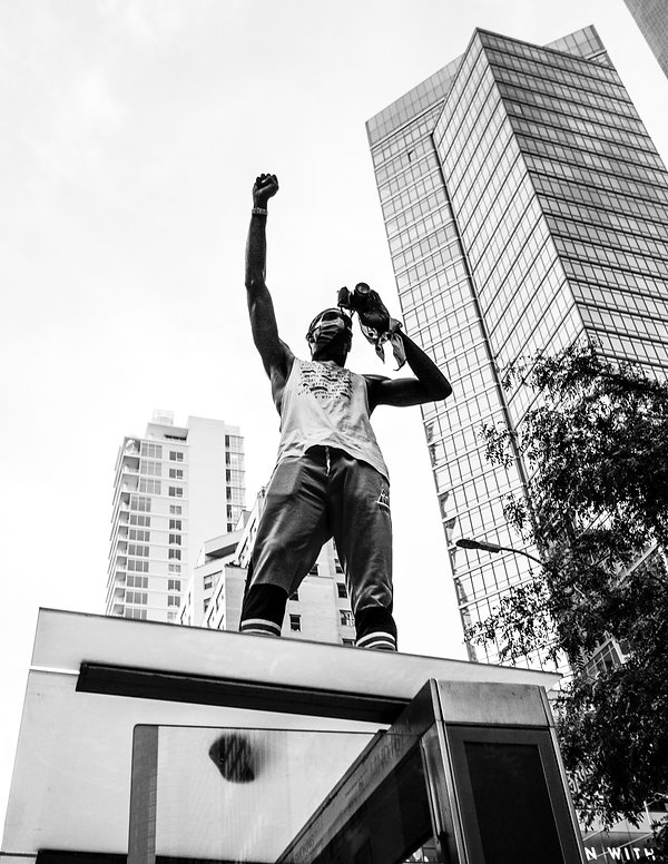 Black LIves Matter march - Fist in the air - Street photography - Black and white photography