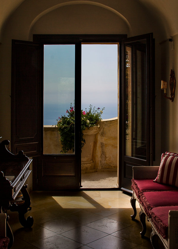 window, amalfi coast, window looking out to the ocean on the coast of Italy.