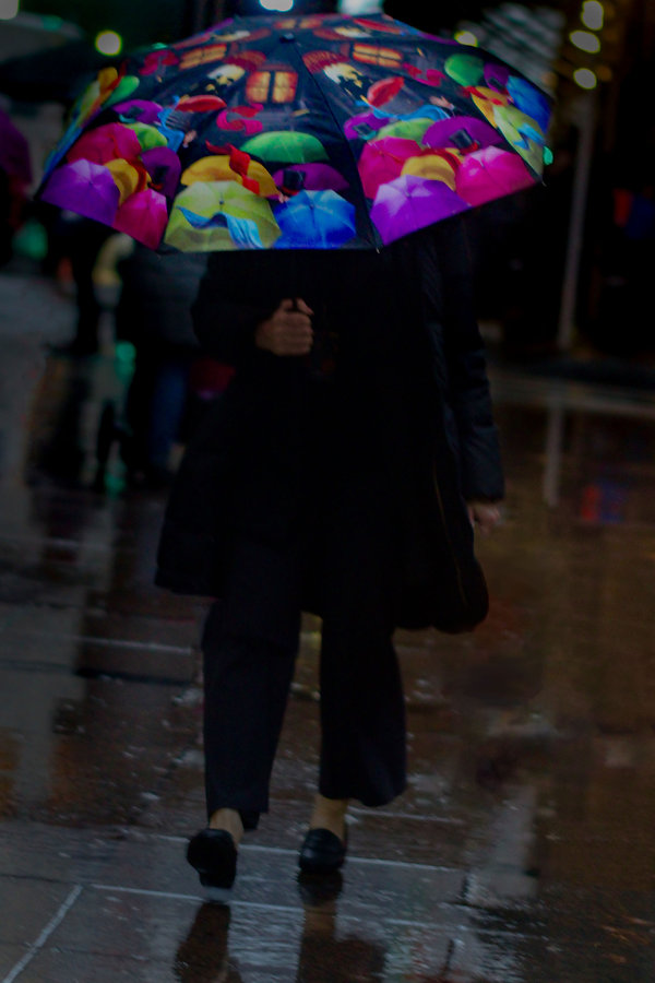 Woman in NY street with colorful umbrella - Street photography