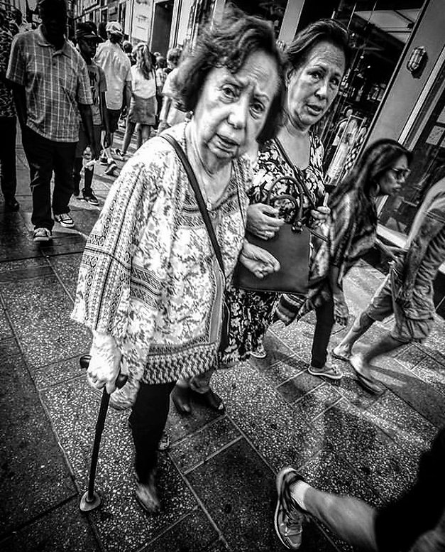 Two women walking in Times Square NYC - Black and white photography - Street photography