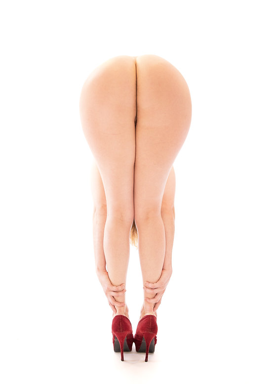 Woman bent over wearing red shoes - Form and figure study - Samantha Light Fine Art photography