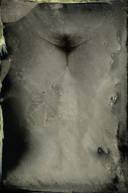 Woman body - Female  - Form and figure study - Samantha Light Fine Art photography - Tin Type