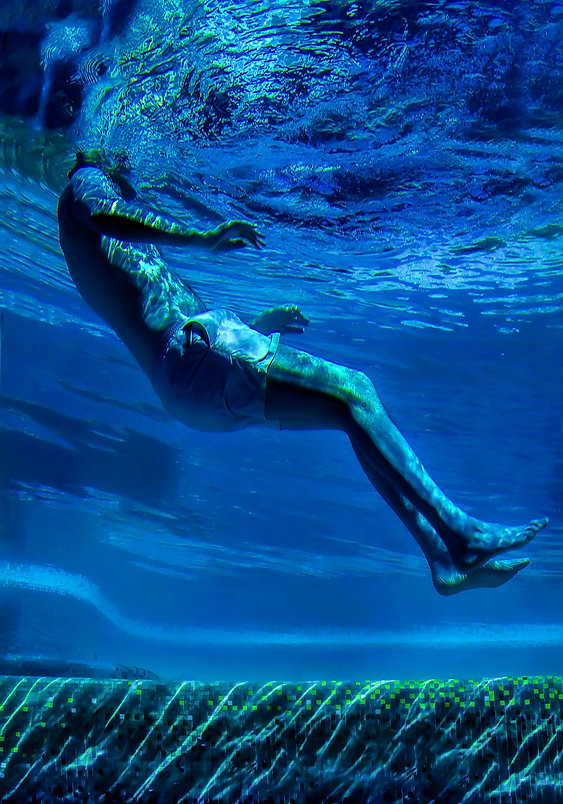 Man profile floats underwater - Blue and green - Underwater photography - Underwater photography