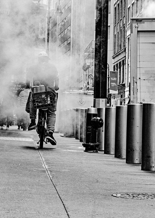Man on Bicycle in steam - Street - NY - - Black and white photography