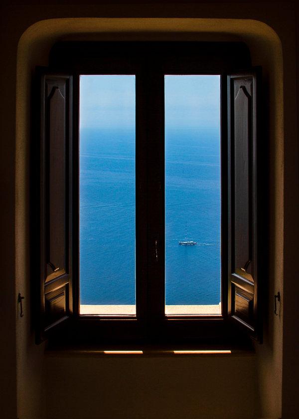 window, boat, window looking out to the sea, amalfi coast, italy, bay window