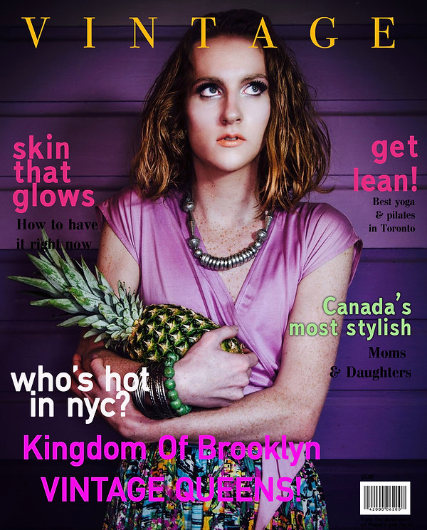 Vintage magazine cover - Fashion photography - Purple - Pineapple