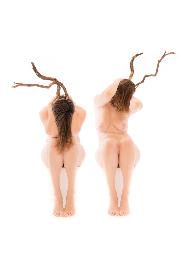 Woman with tree limbs as horns - Samantha light fine art photography