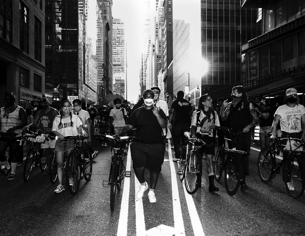 Black lives matter - Black womens march - NYC - Black and white street photography