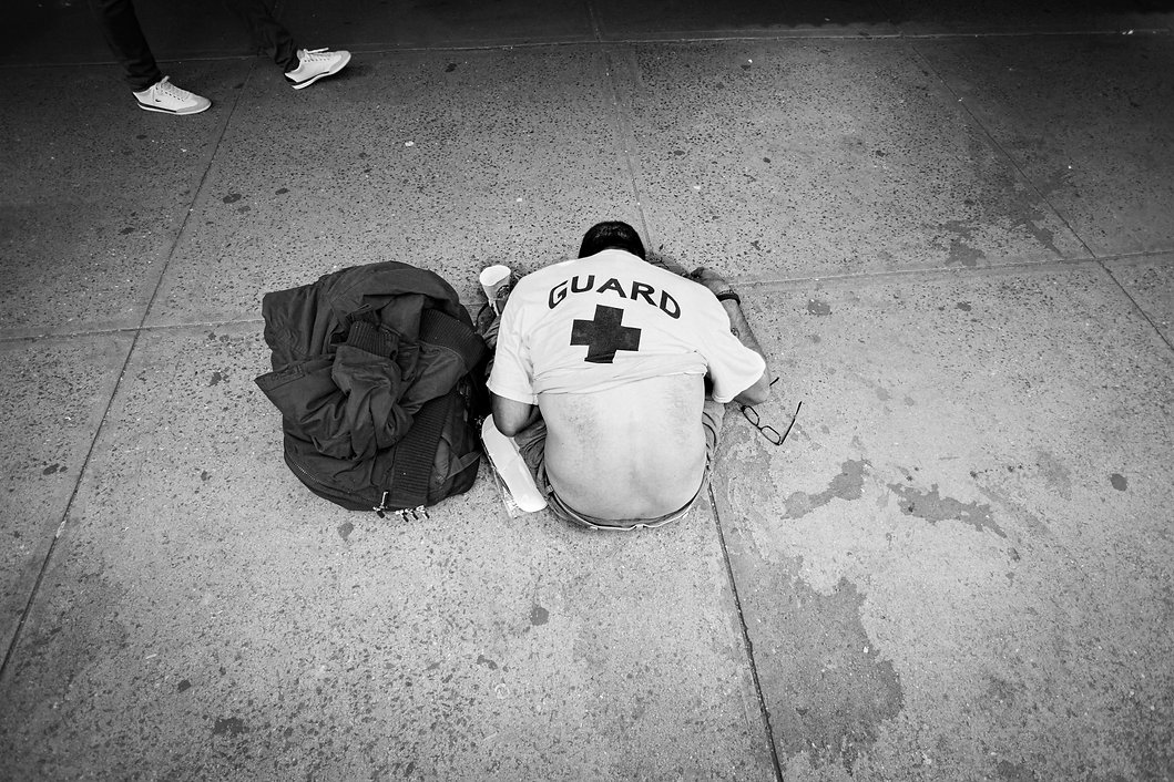 Homeless man passed out on NY street - Opioid epidemics - Woman eating at a restaurant wearing masks - coronavirus - - Black and white photography