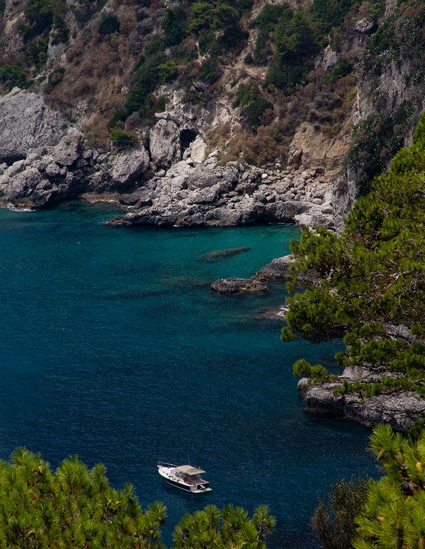 A boat in a bay - Amalfi Coast - Italy