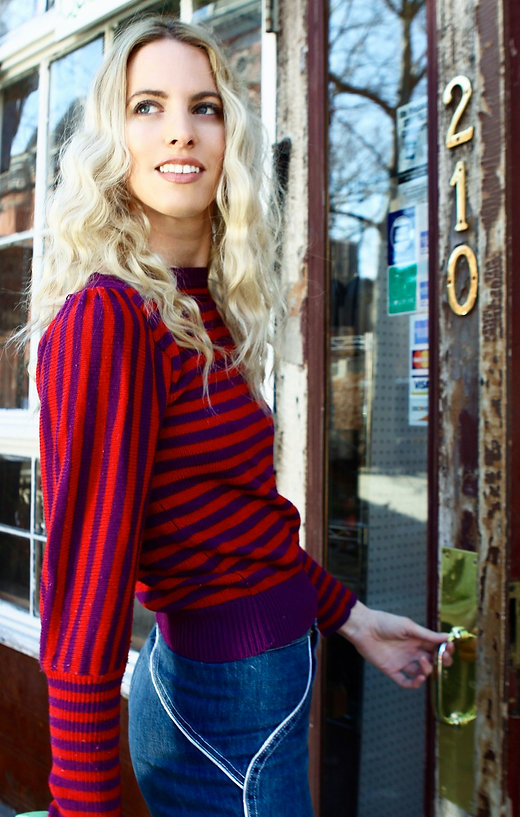 Model wearing vintage striped sweater - Kingdom of brooklyn - Fashion photography