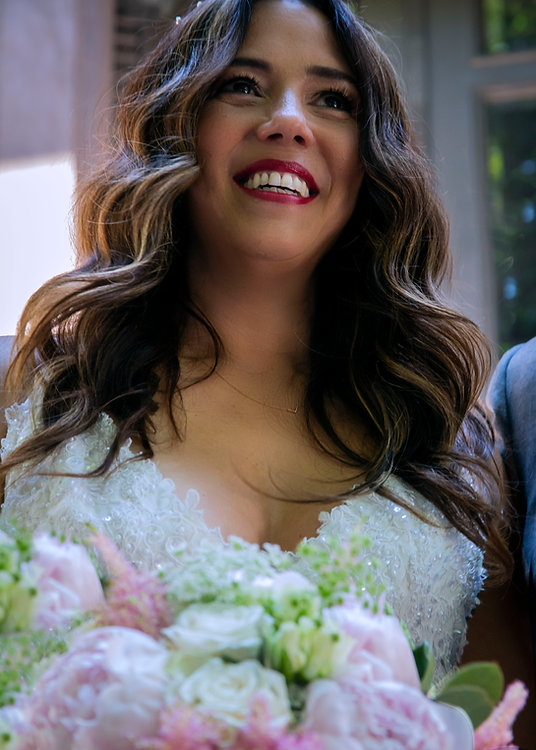 Bride smiling seeing her husband to be - Brooklyn stoop - Backyard wedding - Wedding photography