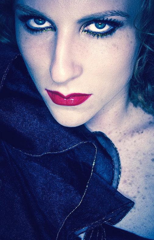 Woman wearing vintage fur and ruffles - Fashion shoot - Brooklyn NYC
