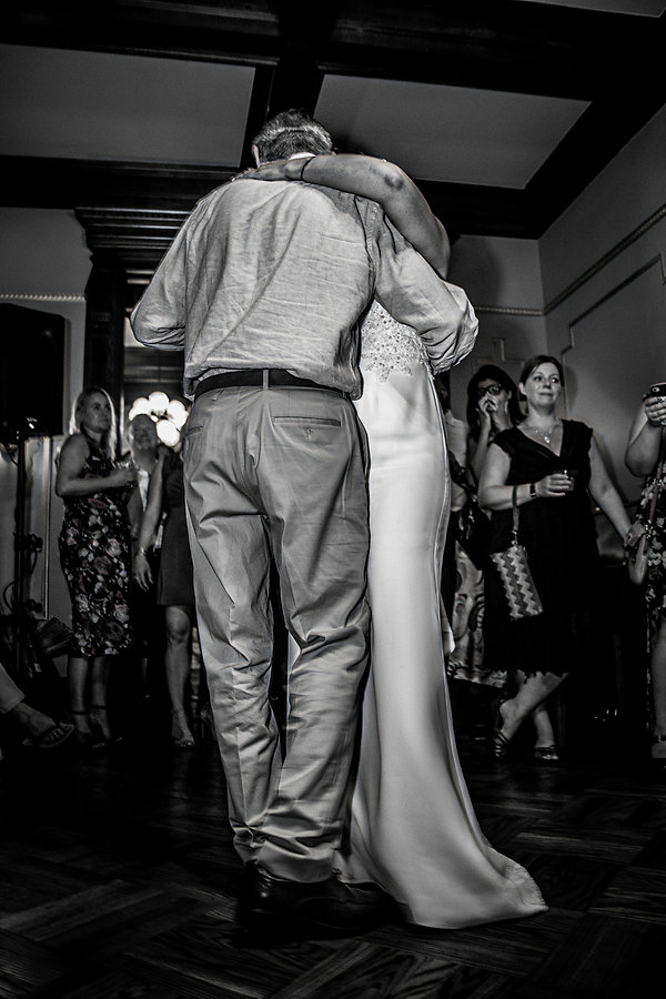 Bride dancing with father at wedding - Wedding photography - Black and white photography