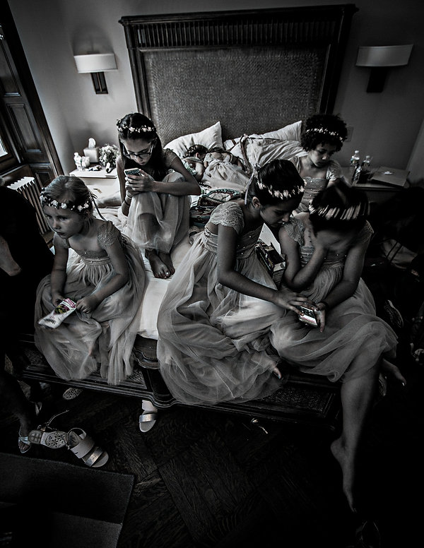 brides maids sitting on bed  - Wedding photography - Black and white photography