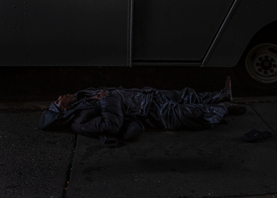 Homeless man passed out in NYC street - Opiod crisis