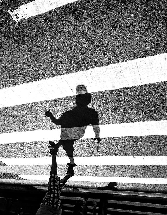Shadow people - Walking on crosswalk - NYC - - Black and white photography