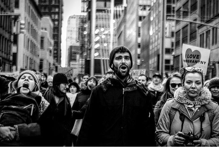 Protest NYC - Immigration  rights - Street photography - Black and White