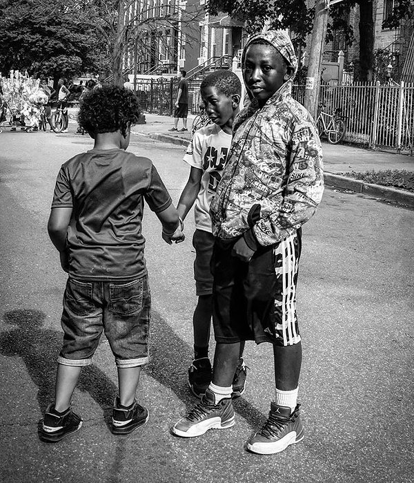 Kids at a block party in Brooklyn - Black and white photography