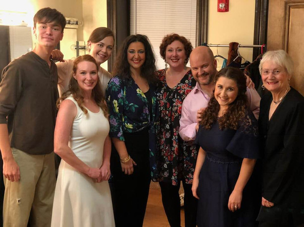 With the cast of Music off Main's The Medium after opening night