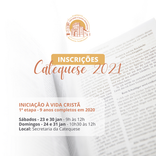 Inscrições para a Catequese 2021