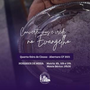 Quarta-feira de Cinzas - Horários de Missa