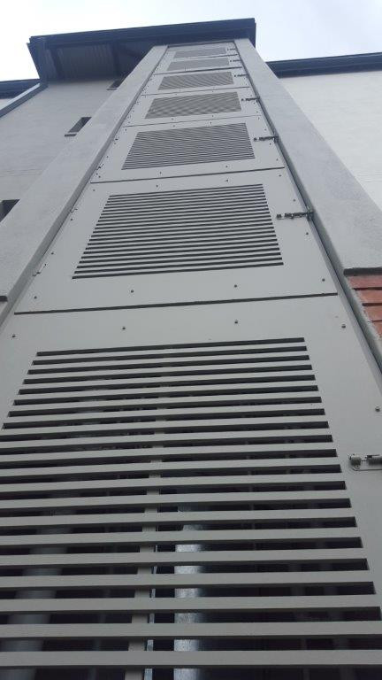 Nutec waterjet cut slatted duct covers to ventilation and service shaft.