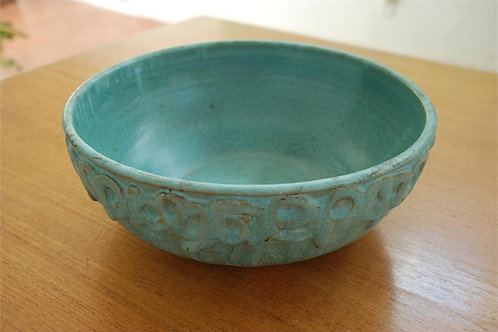 Blue/green appliqué bowl