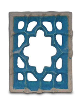 Etruscan tiles have a copper blue carbonate glaze or a white glaze.