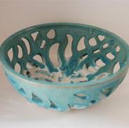Filigree ceramic carved bowl
