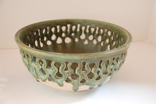 Carved bowl with green glaze