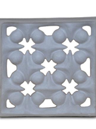 Five Cluster tiles have a copper blue carbonate glaze or a white glaze.