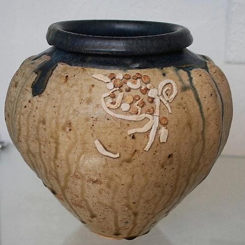 Fluted Mesquite Ash Glaze Vase