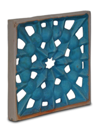 Center Star tiles are finished with a copper blue carbonate glaze