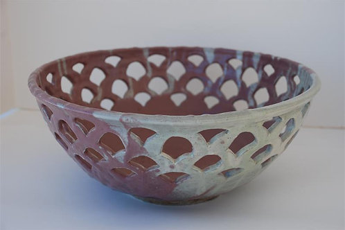 Copper red carved bowl