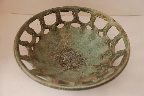 Green-glazed carved bowl