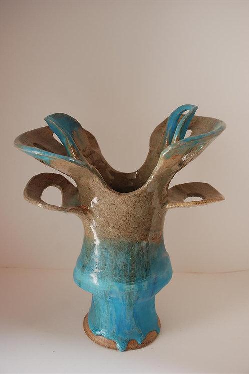 Aqua and brown Composite Pot