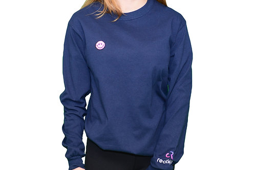 realspin x patched - blue longsleeve w. pink smiley