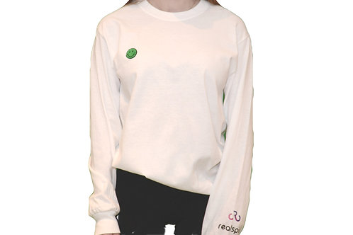 realspin x patched  - white longsleeve + green smiley