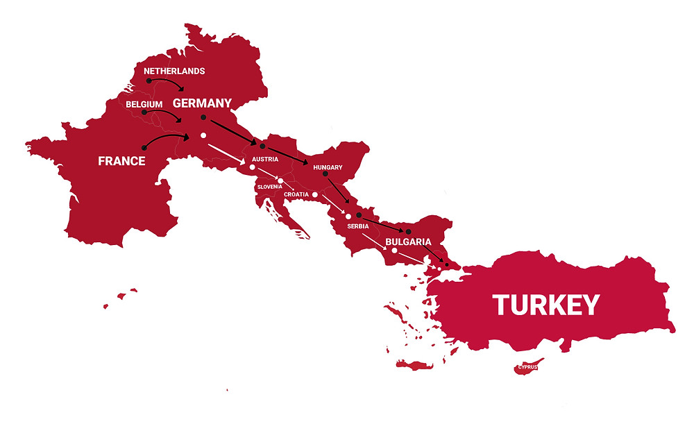 From Europe to Turkey Route Map