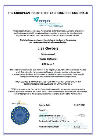Membership Certificate Fitness Instructor EREPS level 3