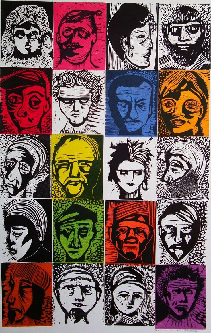Linoleum cut by V.  Coutant-Godard