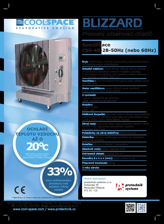 mobilní Coolspace ochlazovač vzduchu Blizzard, klimatizace
